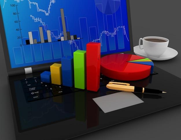 Geschäftsbürokonzept. diagramm und diagramme auf laptoptastatur. 3d gerenderte darstellung