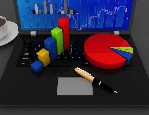 Geschäftsbürokonzept. diagramm und diagramme auf laptoptastatur. 3d gerenderte ungerechtigkeit