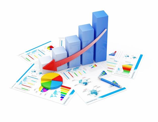 Geschäftsdiagramm ablehnen kreisdiagramm und finanzberichte isoliert
