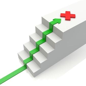 Geschäftsdiagramm mit steigendem pfeil zum ziel und zur leiter auf weiß. 3d-darstellung