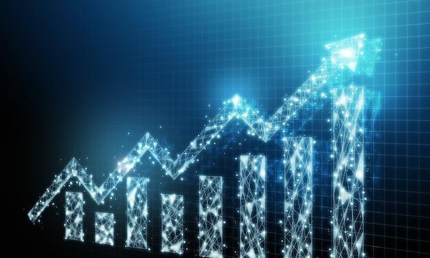 Geschäftsentwicklung zum erfolg und wachsendes wachstumskonzept. diagramm mit pfeilerhöhung, die den zukünftigen wachstumsplan des unternehmens nach oben bewegt