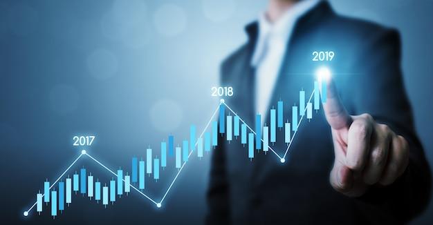 Geschäftsentwicklung zum erfolg und zum wachsenden konzept des wachstumsjahres 2019, geschäftsmann, der linie zukünftiger wachstumsplan des punktdiagrammunternehmens zeigt