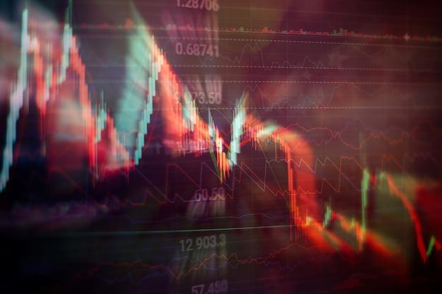 Geschäftserfolg und wachstumskonzept. börsengeschäftsdiagramm auf digitalem bildschirm. forex-markt, goldmarkt und rohölmarkt