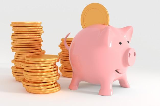 Geschäftserfolgmetapher - rosa sparschwein witn goldmünze lokalisiert