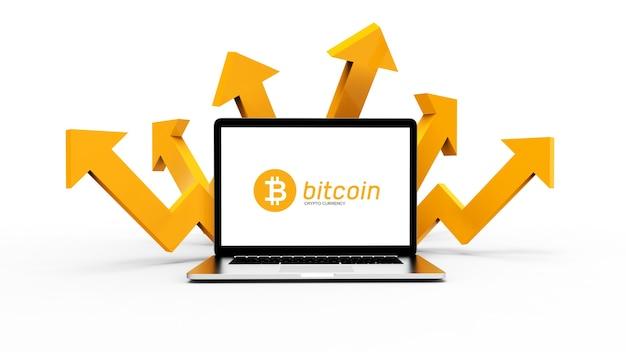 Geschäftsfinanzierungskonzept für laptop und bitcoin-kryptowährung. 3d-darstellung.