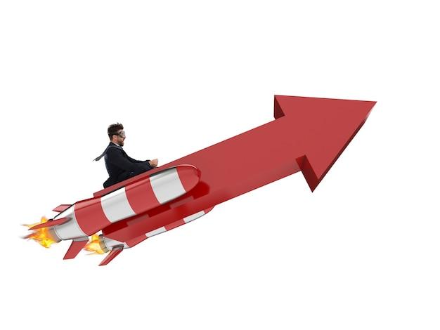 Geschäftsfliegen mit einem pfeil mit raketen. 3d-rendering