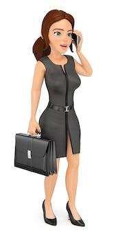Geschäftsfrau 3d mit aktenkoffer sprechend am handy