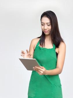 Geschäftsfrau arbeitsservice schürze kleid