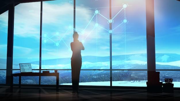 Geschäftsfrau beobachtet infografiken vor einem panorama-bürofenster
