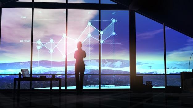 Geschäftsfrau betrachtet virtuelle infografiken gegen das bürofenster