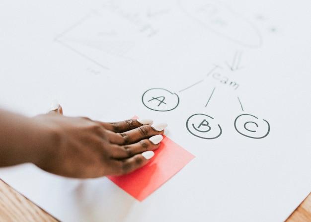 Geschäftsfrau brainstorming-ideen mit einem diagramm