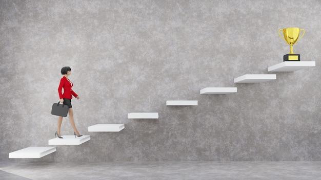 Geschäftsfrau der 3d-illustration, die die treppe zum trophäenbecher hinaufgeht. erfolgskonzept.