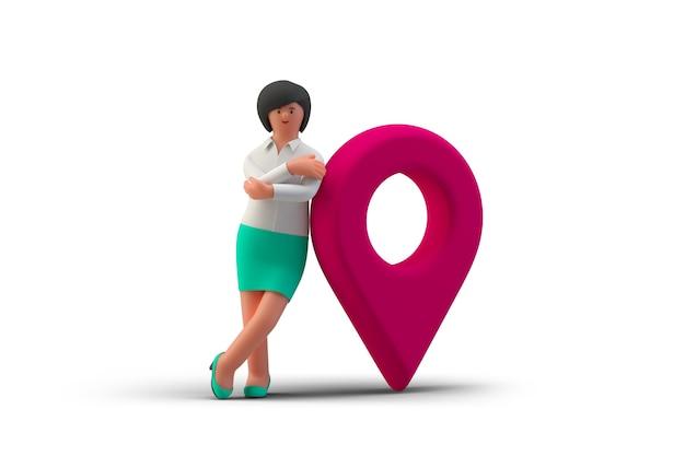 Geschäftsfrau, die in der nähe von geopoint-navigationszeichen steht, isoliert auf weißem hintergrund