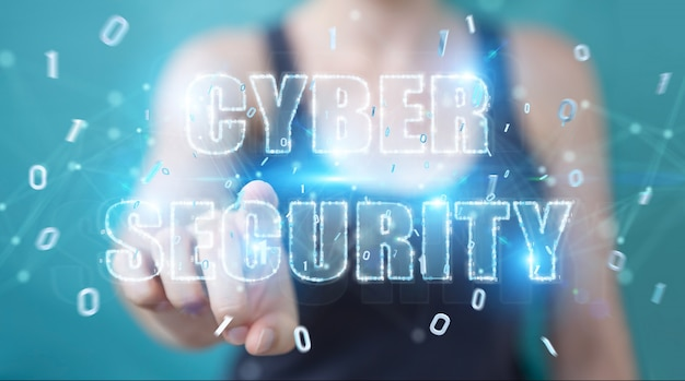 Geschäftsfrau, die internetsicherheitstexthologramm verwendet