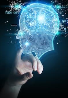 Geschäftsfrau, die künstliche intelligenz schafft