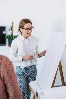Geschäftsfrau, die neuen unternehmensplan auf flipchart erklärt