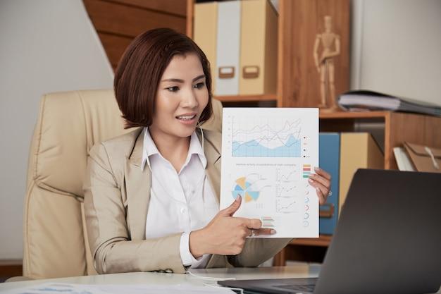 Geschäftsfrau, die onlinekonferenz im büro hat