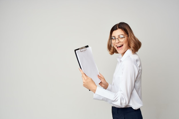 Geschäftsfrau dokumente arbeit kopie raum büro beamte