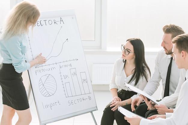 Geschäftsfrau erklärt kollegen ihre neuen ideen