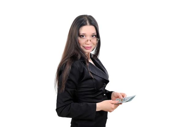 Geschäftsfrau, geschäftsvorschlag, der betrieb von geld und währung