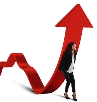Geschäftsfrau hilft statistik