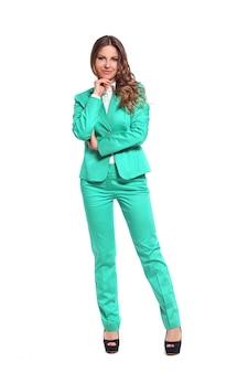 Geschäftsfrau im grünen anzug