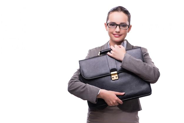 Geschäftsfrau mit dem aktenkoffer getrennt auf weiß