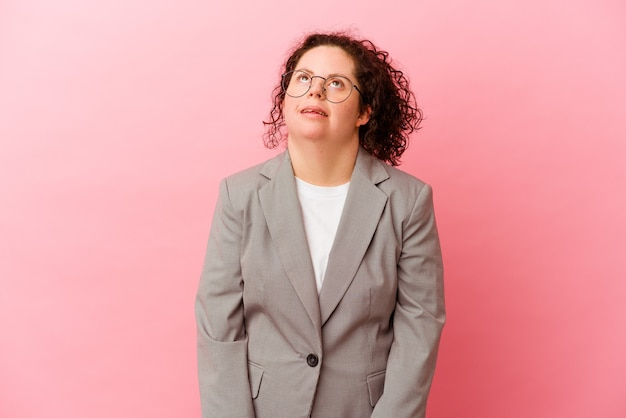 Geschäftsfrau mit down-syndrom isoliert