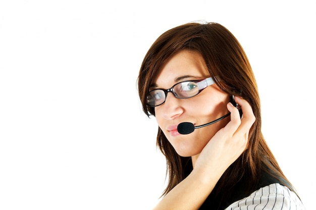 Geschäftsfrau mit einem headset