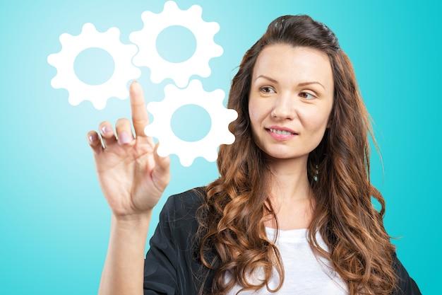 Geschäftsfrau mit finger zeigen