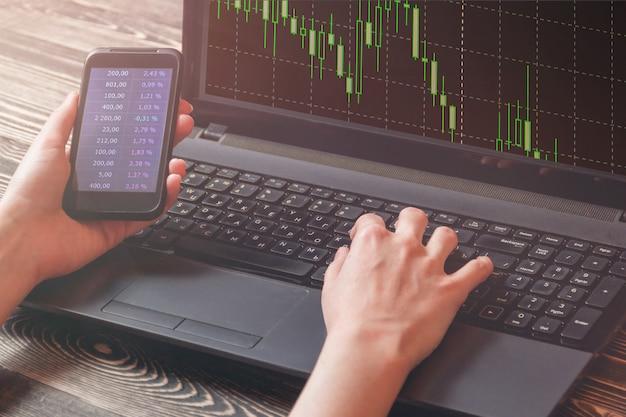 Geschäftsfrau mit intelligentem telefonshowfinanzmarktdiagramm, laptopshowfinanzmarktdiagramm, börseenkonzept.