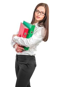 Geschäftsfrau mit ordner
