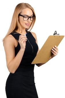 Geschäftsfrau mit zwischenablage