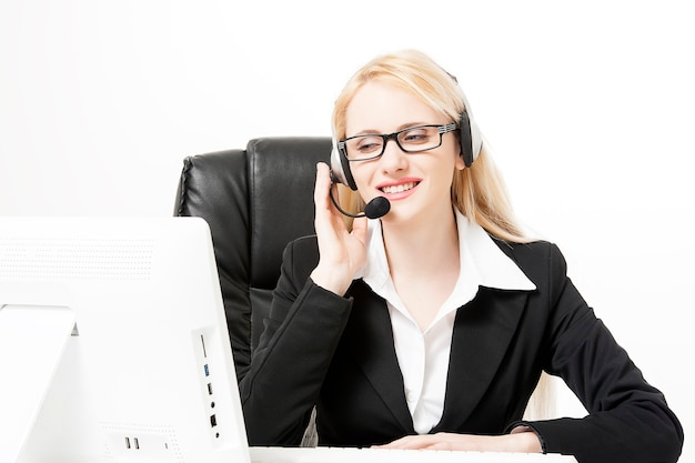 Geschäftsfrau oder selbstbewusste buchhalterin im büro