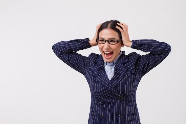 Geschäftsfrau schreit oder schreit