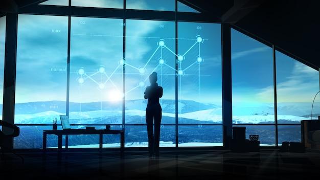 Geschäftsfrau vor einem infografik-hologramm gegen das bürofenster