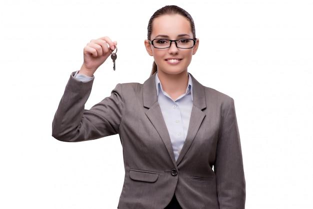 Geschäftsfrau, welche die virtuellen knöpfe lokalisiert auf weiß bedrängt