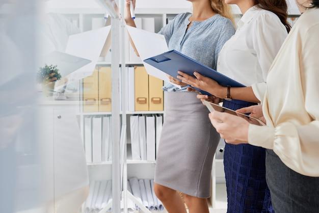 Geschäftsfrauen, die arbeit planen
