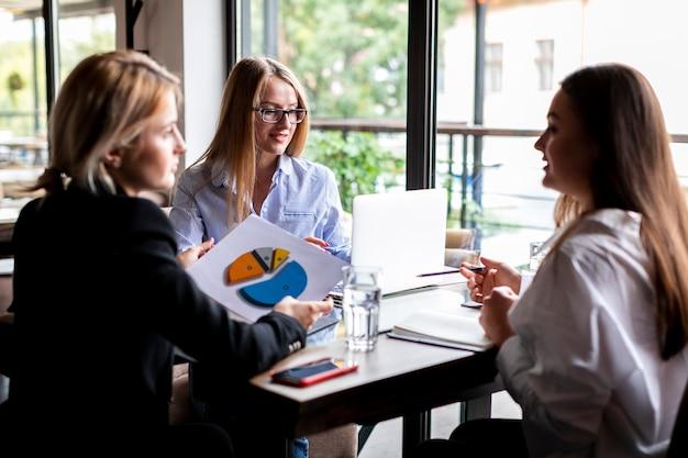 Geschäftsfrauen, die bei der arbeit sich treffen
