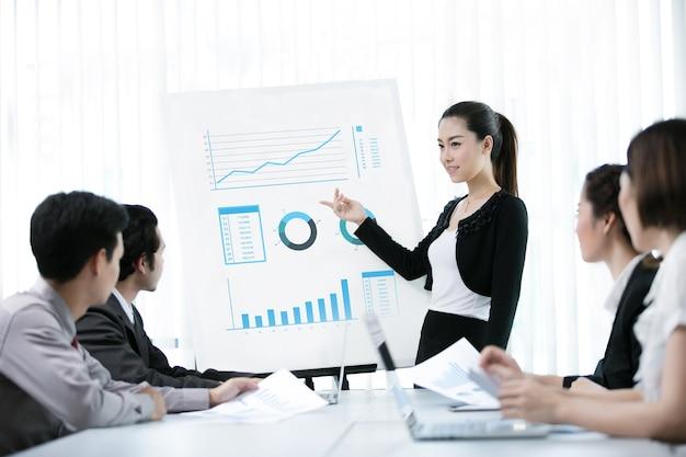 Geschäftsfrauen wird eine arbeit als graph angeboten