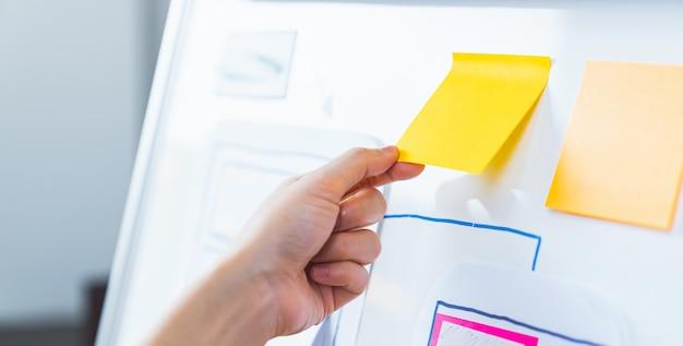 Geschäftsfrauenhand, die ein gelbes klebriges postnotizpapier auf einer weißen tafel hält.