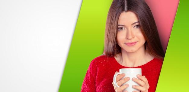 Geschäftsfrauportrait mit cup