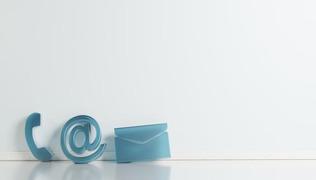Geschäftskontaktsymbole in magentafarbener telefon-e-mail und adress-d-rendering