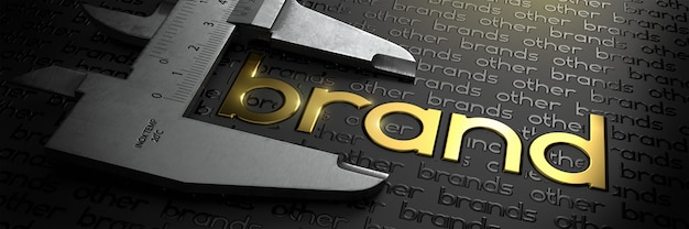 Geschäftskonzept mit goldener wortmarke auf schwarzem hintergrund und messschieber