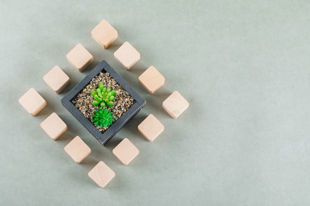 Geschäftskonzept mit holzklötzen, grüne pflanze.