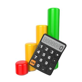Geschäftskonzept mit taschenrechner und finanzdiagramm. auf weiß isoliert.