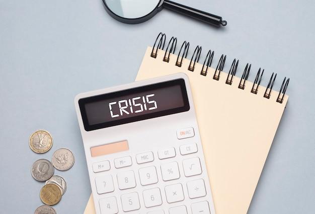 Geschäftskrise. inschrift über finanzielles problem und wirtschaftlichen niedergang.