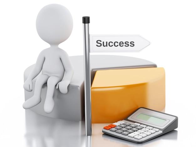 Geschäftsleute 3d mit kreisdiagrammdiagramm- und -bürokalkulator