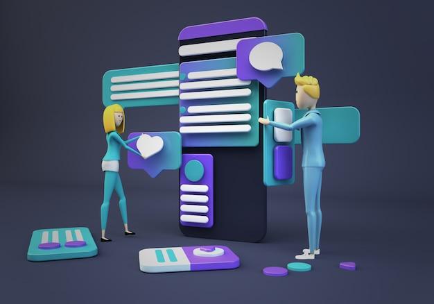 Geschäftsleute, die app entwerfen