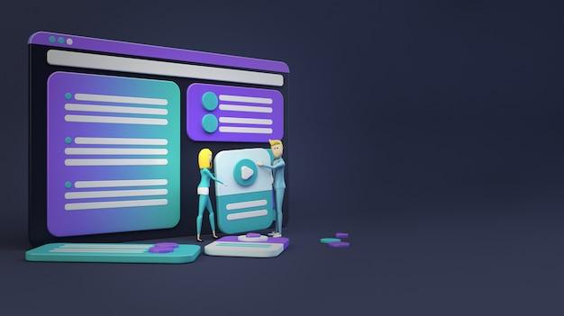 Geschäftsleute, die eine website entwerfen